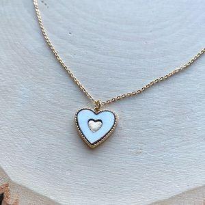 NEW Anthropologie Heart Enamel Pendant Necklace